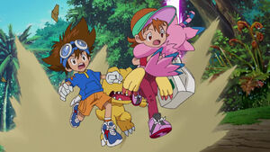 Taichi, Agumon, Sora and Biyomon running
