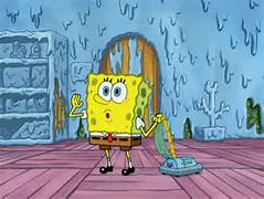 SpongeBob vaccum Squidward's house