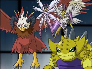 Aquilamon, Angewomon MagnaAngemon & Ankylomon