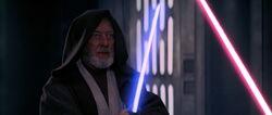 Obi-Wan Ben Kenobi facing Darth Vader