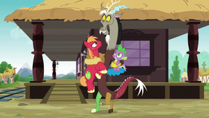 Discord hugging Big McIntosh and Spike S6E17