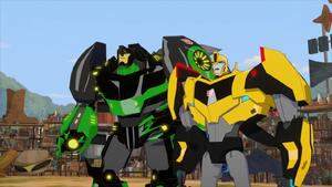 Grimlock and Bumblebee on Scrapyard