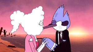 Mordecai and CJ kiss during sunrise