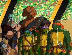 Ninja Turtles, Traximus and Ape-like Gladiator (S02E04)