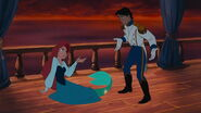 Ariel turns back into a mermaid before she can kiss Eric