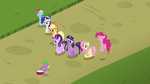 Mane 6, Spike (with a drum), and Starlight together S5E26