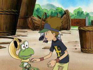 Kazu with Gekomon