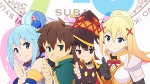 Aqua, Kazuma, Megumin, Chomusuke and Darkness