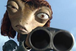 Beans aiming her shotgun at Rango