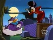 Darkwing Duck and Morgana Macawber get into a heated argument on their date when DW refuses her offer to help him on his cases as he says that she gets in her way