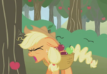 Applejack gets hit her head by an three