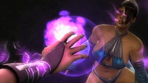 Sindel sucking out Kitana's soul