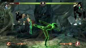 Jade follows with another kick to kitana