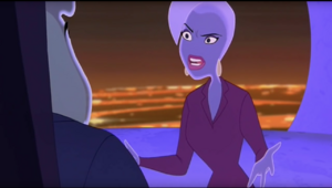 Leah Estrogen standing up to Mayor Phlemming when he dismisses her point about Jones being right about Thrax