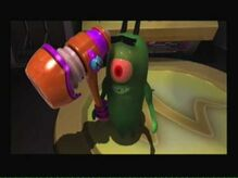 Plankton is holding his hammer