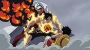 Ace saves Luffy from Akainu