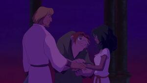 Quasi Phoebus and Esmeralda reconciling after defeating Frollo