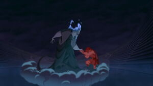Hercules sacrificing his strength to Hades for Meg's safety