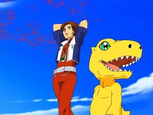 Marcus and Agumon wondering in the Digital World