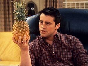 Joey flirting a pineapple