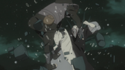 Obito kicks a Kiri-nin