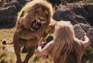 Aslan facing the White Witch