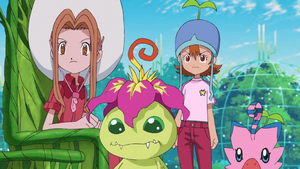 Mimi, Palmon, Sora and Biyomon