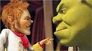Shrek facing Rumpelstiltskin