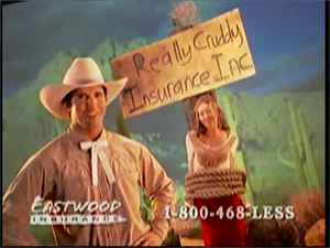 Woman happy Eastwood Insurance Cowboy has come to rescue her