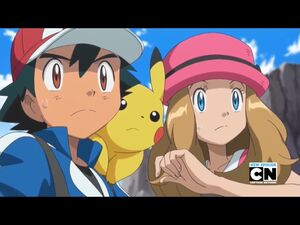 Ash, Pikachu, and Serena