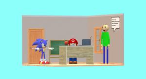 Mario, Sonic, and Baldi