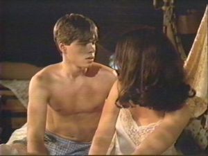 Dennis (Matthew Lawrence) in his boxers with Odette (Gaby Hoffmann) in (Strike! - All I Wanna Do - The Hairy Bird) talking about their future lives