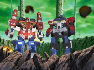 Optimus and Wing Saber Ready for Combine