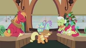 Pinkie's present hits Applejack on the head S5E20 (1)