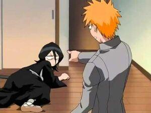 Ichigo Kicks Rukia