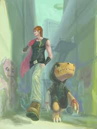 Marcus and Agumon were walking in the alley