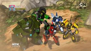 Bumblebee, Strongarm, Grimlock, Bulkhead, and Sideswipe