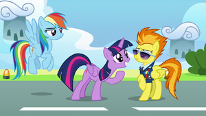 Twilight grinning excitedly in Spitfire's face S6E24