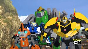 Bumblebee, Fixit, Grimlock and Strongarm (Overloaded, Part 1)