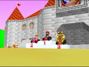 Mario Kart 64 mario peach and bowser in ceremony trophy