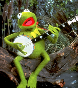 Kermit longing as he plays his banjo