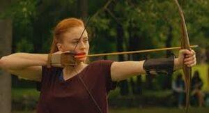 Jean doing archery