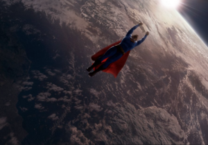 Superman SR flies off into the distance