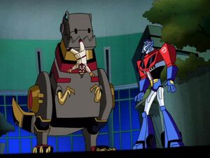 Optimus and Grimlock with Nutcase Powell