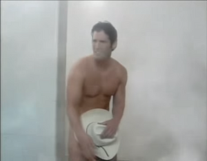 The Eastwood Insurance Cowboy at the end of the 1990s shower commercial
