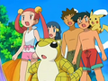 Ash, Dawn, Brock, Mira, Pikachu and Sandshrew.