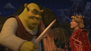 Shrek facing Prince Charming
