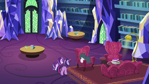 Rarity, Twilight, and Starlight in the Castle Library
