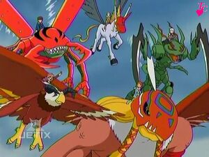 Aquilamon and Garudamon with Kuwagamon, Snimon and Unimon