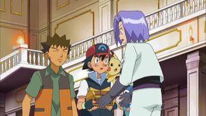 Ash and Brock with James.